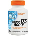 Doctor's Best Vitamin D3, 5000 IU, Softgels- 360 ea