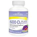 21st Century 600 + D3 Plus Minerals, Chewable Tablets
