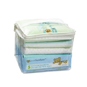 Piccolo Bambino 100% Cotton Flannel Receiving Blankets, Yellow Patterns- 5 ea