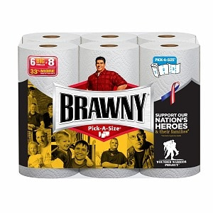 Brawny Paper Towels, Pick a Size, White, 6 roll (042000445177)