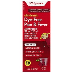 Walgreens Children's Pain Relief Suspension Liquid Dye-Free, Cherry- 4 oz