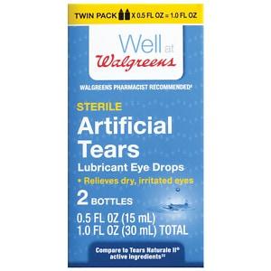 Walgreens Artificial Tears Lubricant Eye Drops, Twin Pack- 1 fl oz