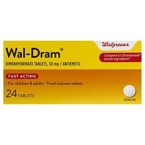 Walgreens Wal-Dram Antimetic Travel Sickness Tablets- 24 ea