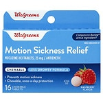 Walgreens Motion Sickness Relief Chewable Tablets, Raspberry- 16 ea