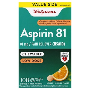Walgreens Low Dose Aspirin 81 mg Chewable Tablets, Orange