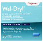 Walgreens Wal-Dryl Severe Allergy & Sinus Headache, Caplets- 20 ea