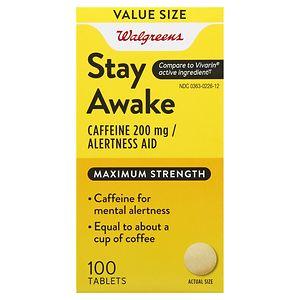 Walgreens Stay Awake Caffeine 200 mg Alertness Aid Tablets- 100 ea
