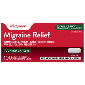 Walgreens Migraine Relief Coated Caplets- 100 ea