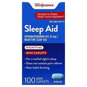 Walgreens Nighttime Sleep Aid Mini-Caplets- 100 ea