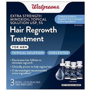 Walgreens Minoxidil Hair Regrowth Treatment For Men Extra Strength, 3 pk