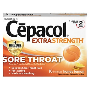 Cepacol Sore Throat Oral Pain Reliever Lozenges, Honey Lemon- 16 ea
