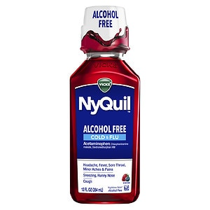 Vicks Nyquil Alcohol Free Cold & Flu Nighttime Relief Liquid, Soothing Berry Flavor