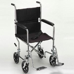 Nova Transport Chair Steel with Swing Away Footrests, 19 inch, 1 ea