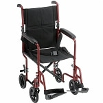 Nova Transport Chair Steel with Swing Away Footrests, 19 inch, Red- 1 ea
