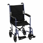 Nova Transport Chair Lightweight with S/A Footrests, 17 inch, Blue