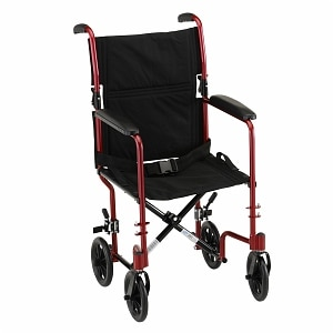 Nova Transport Chair Lightweight with Swing Away Footrests, 17 inch, Red