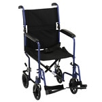 Nova Transport Chair Lightweight with S/A Footrests, 19 inch, Blue