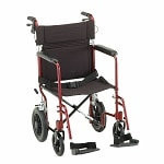 Nova Transport Chair Lightweight with Hand Brakes Swing Away Footrests, 20 inch, Red- 1 ea