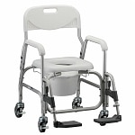 Nova Shower Chair/Commode with Padded Seat & S/A Footrest- 1 ea
