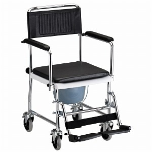 Nova Drop Arm Commode Transport Chair with Wheels- 1 ea