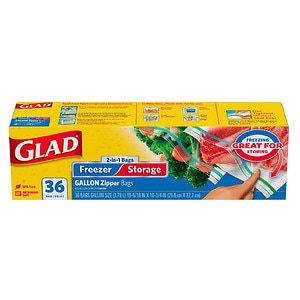 Glad Food Storage Bags,  2-in-1 Zipper,  Gallon,  36 ea