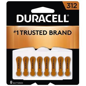 Duracell Hearing Aid Batteries, 312- 8 ea