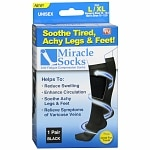 Miracle Socks Anti-Fatigue Compression Socks, Unisex, Black, Large/X Large