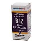 Superior Source No Shot Methyl B12 5000 mcg/B6/Folic Acid 800mcg, Disolve Tablets