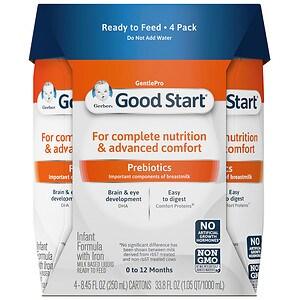 Gerber Good Start Gentle, Infant Formula, Ready to Feed, Birth+, 8.45 fl oz Tetra Packs- 4 ea