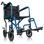 Hugo Portable Lightweight Transport Wheelchair with Detachable Footrests, Midnight Blue- 1 ea