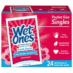 Wet Ones Antibacterial Hands & Face Wipes, Singles, Fresh- 24 ea