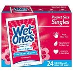 Wet Ones Antibacterial Hands & Face Wipes, Singles, Fresh- 24 ea