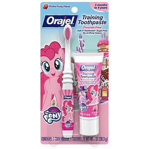 Orajel Toddler My Little Pony Training Toothpaste with Toothbrush, Pinky Fruity- 1 oz