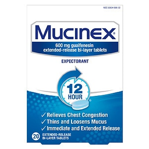 Mucinex Expectorant, 600mg Extended-Release Bi-Layer Tablets- 20 ea