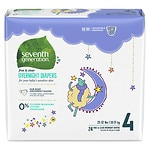 Seventh Generation Baby Overnight Diapers, Stage 4, 22+ lbs- 24 ea