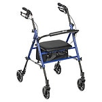 Drive Medical Adjustable Height Rollator, Blue, 6 Inch Wheels