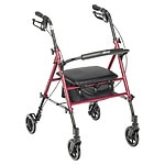 Drive Medical Adjustable Height Rollator, Red, 6 Inch Wleehs- 1 ea