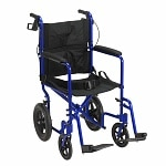 Drive Medical Lightweight Expedition Transport Wheelchair with Hand Brakes, Blue- 1 ea