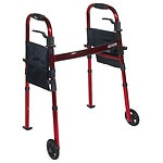 Drive Medical Portable Folding Travel Walker with Wheels & Fold