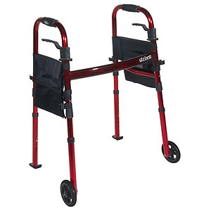 Drive Medical Portable Folding Travel Walker with Wheels & Fold up Legs, 5 inch Wheels- 1 ea