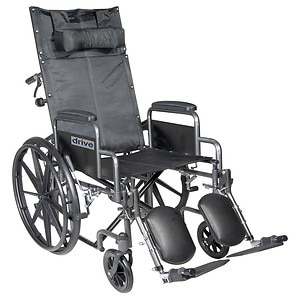 Drive Medical Silver Sport Reclining Wheelchair with Detachable Desk Arms and Leg rest, 16 Inch