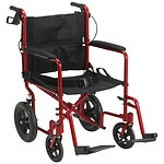 Drive Medical Lightweight Expedition Transport Wheelchair with Hand Brakes, Red, 19 Inch- 1 ea