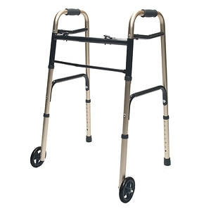 Lumex Adult Folding Walker with Wheels, Gold