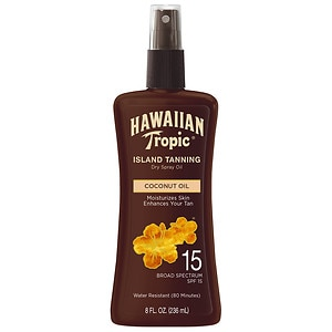 Hawaiian Tropic Protective Dry Oil Sunscreen, SPF 15- 8 fl oz