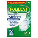 Polident Overnight Whitening, Antibacterial Denture Cleanser, Triple Mint Freshness