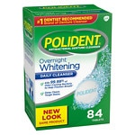 Polident Overnight Whitening, Antibacterial Denture Cleanser, Bonus Pack, Triple Mint Freshness