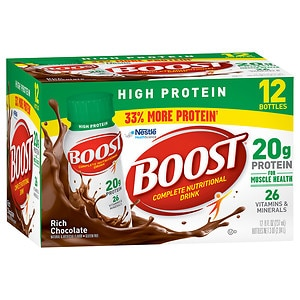 Boost High Protein Complete Nutritional Drink, Rich Chocolate, 8 oz Bottles, 12 pk- 8 oz
