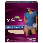 Depend Silhouette Incontinence Briefs for Women, Maximum Absorbency, Soft Peach & Light Blue, Large/Extra Large- 10 ea