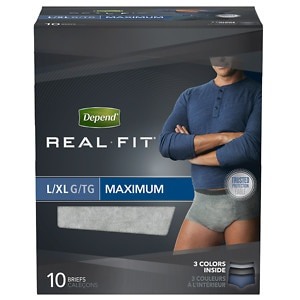 Depend Real Fit Underwear for Men Maximum Absorbency, 10 Pack, Gray, L/XL- 10 ea