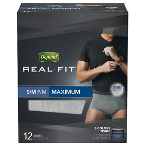 Depend Real Fit Incontinence Briefs for Men, Maximum Absorbency, Gray & Blue, Small/Medium- 12 ea